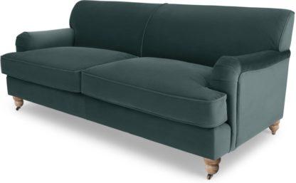 An Image of Orson 3 Seater Sofa, Marine Green Velvet