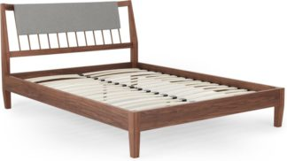 An Image of Mara Double Bed, Walnut and Grey