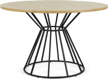 An Image of Khalida 4 Seat Round Dining Table, Mango Wood and Black