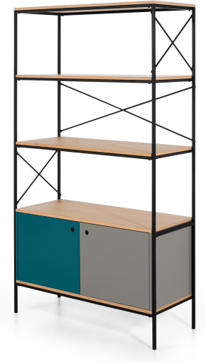 An Image of Arris Shelving Unit, Oak and Blue