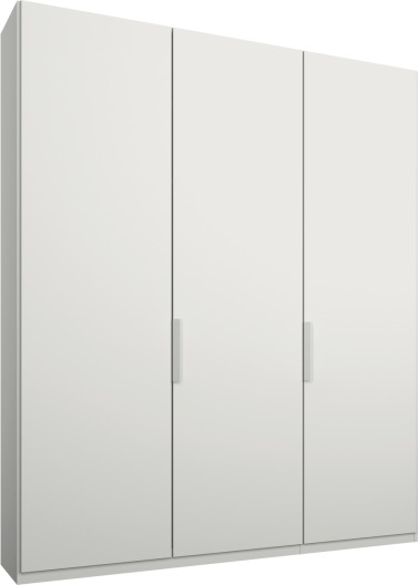 An Image of Caren 3 door 150cm Hinged Wardrobe, White Frame, Matt White Doors, Classic Interior