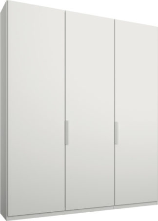 An Image of Caren 3 door 150cm Hinged Wardrobe, White Frame, Matt White Doors, Premium Interior