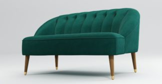 An Image of Custom MADE Margot 2 Seater Sofa, Teal Cotton Velvet with Light Wood Brass Leg