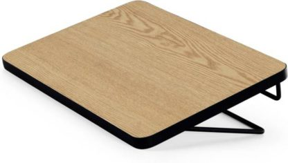 An Image of MADE Essentials Besley Clip Bedside, Ash & Black