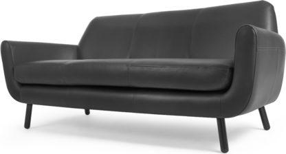 An Image of Jonah 3 Seater Sofa, Liquorice Black Premium Leather