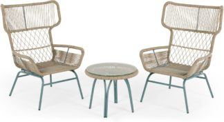 An Image of Lyra Garden Lounge Set, Grey and Blue