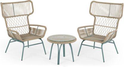 An Image of Lyra Garden Lounge Set, Grey and Blue