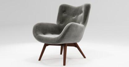 An Image of Custom MADE Doris Accent Chair, Steel Grey Velvet with Dark Wood Legs