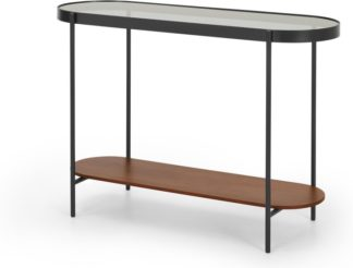 An Image of Kameko Oval console table, Walnut and Smoked Glass