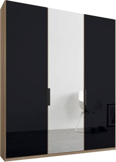 An Image of Caren 3 door 150cm Hinged Wardrobe, Oak Frame, Basalt Grey Glass & Mirror Doors, Classic Interior