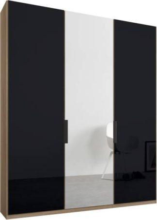 An Image of Caren 3 door 150cm Hinged Wardrobe, Oak Frame, Basalt Grey Glass & Mirror Doors, Standard Interior