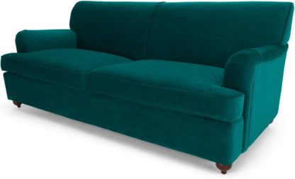 An Image of Orson 3 Seater Sofa Bed, Seafoam Blue Velvet