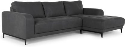 An Image of Luciano Right Hand Facing Chaise End Corner Sofa, Grey Leather