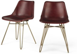 An Image of Set of 2 Kendal Dining Chairs, Oxblood and Brass