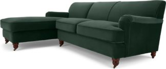 An Image of Orson Left Hand Facing Chaise End Corner Sofa, Autumn Green Velvet