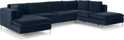 An Image of Monterosso Right Hand Facing Corner Sofa, Sapphire Blue Velvet
