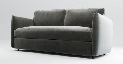 An Image of Custom MADE Fletcher 3 Seater Sofabed with Memory Foam Mattress, Steel Grey Velvet