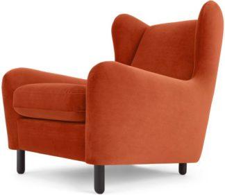 An Image of Rubens Wingback Armchair, Flame Orange Velvet