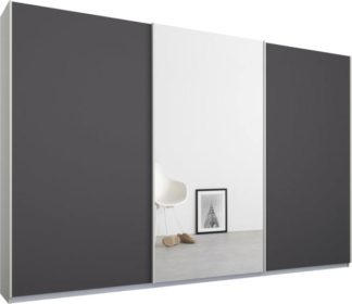 An Image of Malix 3 door 270cm Sliding Wardrobe, White frame,Matt Graphite Grey & Mirror doors , Premium Interior