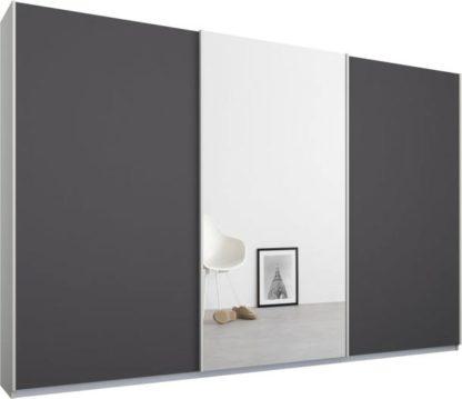 An Image of Malix 3 door 270cm Sliding Wardrobe, White frame,Matt Graphite Grey & Mirror doors , Premium Interior