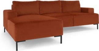 An Image of Frederik 3 Seater Left Hand Facing Compact Corner Chaise End Sofa, Nutmeg Orange Velvet