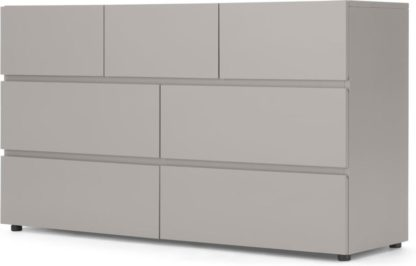 An Image of Senisa Wide Chest Of Drawers, Grey