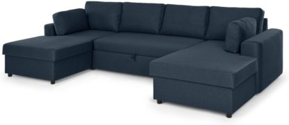 An Image of Aidian Large Corner Sofa Bed with Storage, Regal Blue