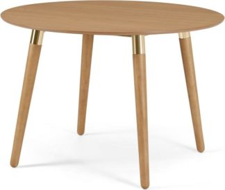 An Image of Edelweiss Round 4 Seat Dining Table, Oak and Brass