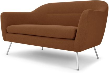 An Image of Reece 2 Seater Sofa, Mina Burnt Orange with Metal Legs