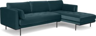 An Image of Harlow Right Hand Facing Chaise End Corner Sofa, Steel Blue Velvet