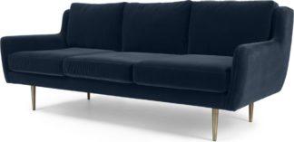 An Image of Simone 3 Seater Sofa, Navy Cotton Velvet