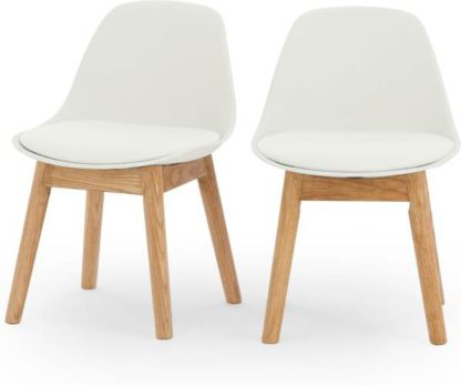 An Image of Mini Thelma Kids Chair Set of 2, Oak and White