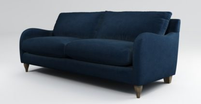 An Image of Custom MADE Sofia 3 Seater Sofa, Plush Indigo Velvet with Light Wood Leg