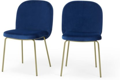 An Image of Set of 2 Safia Dining Chairs, Electric Blue Velvet with Brass Leg