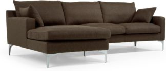 An Image of Mendini Left Hand Facing Chaise End Corner Sofa, Chocolate Brown
