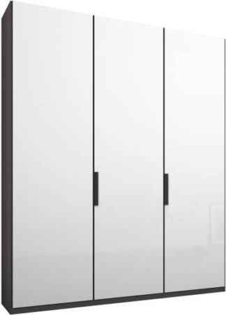An Image of Caren 3 door 150cm Hinged Wardrobe, Graphite Grey Frame, White Glass Doors, Classic Interior