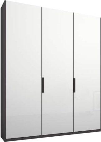 An Image of Caren 3 door 150cm Hinged Wardrobe, Graphite Grey Frame, White Glass Doors, Premium Interior