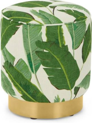 An Image of Hetherington Small Brass Base Pouffe, Leaf Print