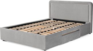 An Image of Etta King Size Bed with Storage Drawers, Light Grey velvet