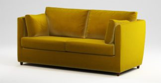 An Image of Custom MADE Milner Sofa Bed with Memory Foam Mattress, Saffron Yellow Velvet