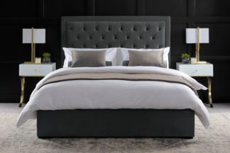 An Image of Zeno Upholstered Bed Midnight Grey