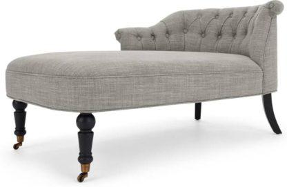 An Image of Bouji Left Hand Facing Chaise Longue, Grey Linen Mix