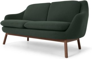 An Image of Oslo 2 Seater sofa, Woodland Green with Dark Stained Legs