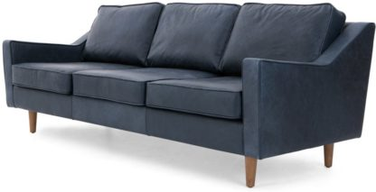 An Image of Dallas 3 Seater Sofa, Charm Midnight Premium Leather
