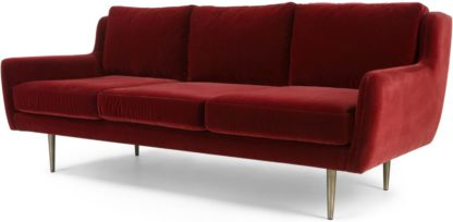 An Image of Simone 3 Seater Sofa, Claret Cotton Velvet