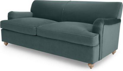 An Image of Orson 3 Seater Sofa Bed, Marine Green Velvet