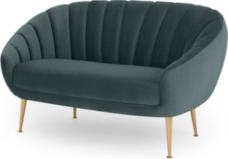 An Image of Primrose 2 seater sofa, Marine Green Velvet