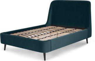 An Image of Hayllar King Size Bed, Steel Blue Velvet