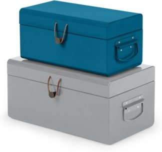 An Image of Daven Set of 2 Small Metal Storage Trunks, Teal Blue & Grey