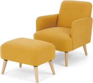 An Image of Elvi Accent Armchair and Footstool, Butter Yellow